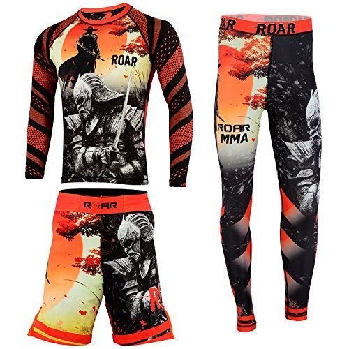 ROAR MMA Rashguards BJJ Men Spatt Pant UFC Cage Fight Short NO Gi Grappling Wear (Blk/Warrior, XLarge) (Fight Warrior Gear)