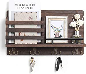 Wooden Mail and Key Holder for Wall Decorative, Rustic Wall Mounted Mail Organizer with 4 Double Key Hooks and 1 Mail Sorter - Perfect Home Decoration for Entryway, Mudroom, Hallway