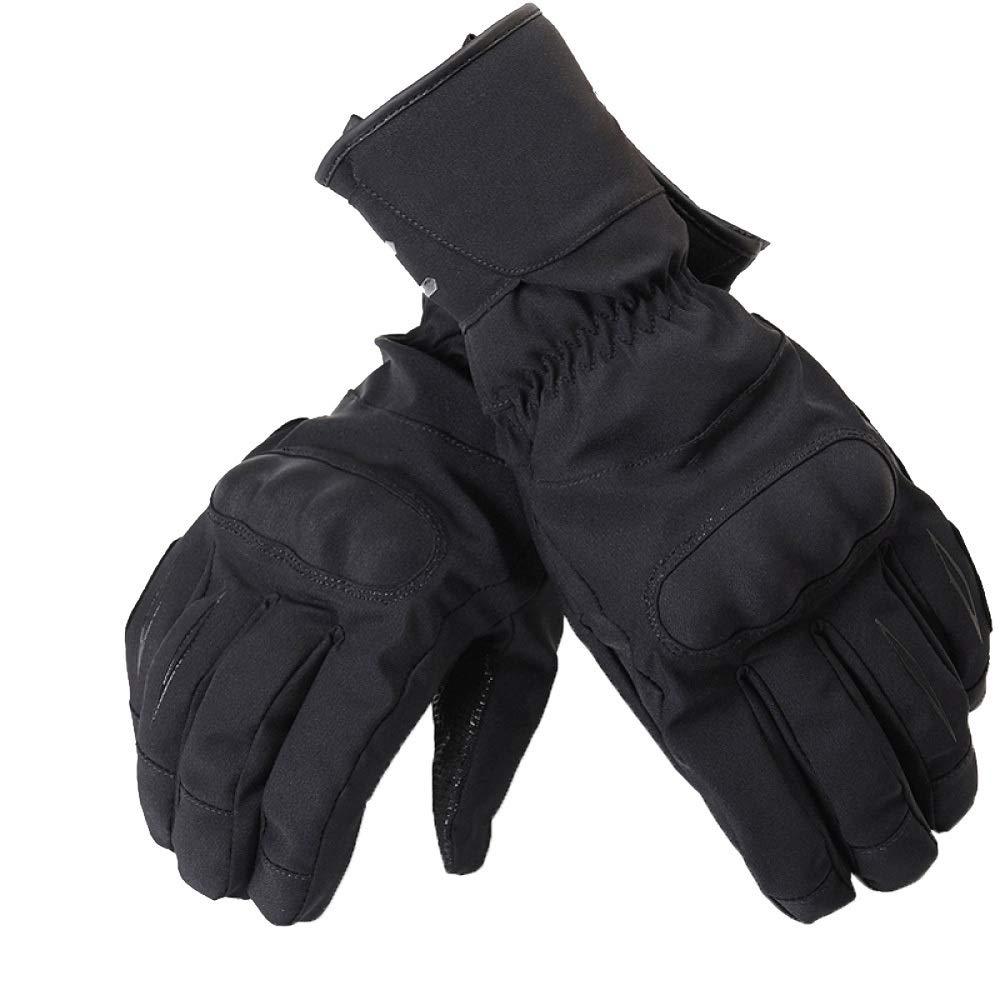 Qzp Motorrad-Reithandschuhe Herren Winter Warm Wasserdicht Winddicht Splitterfest Rennfahrer Motorradhandschuhe,schwarz(B)-XL