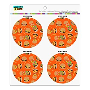 Hamburger Cheeseburger Pattern with Fries and Bacon Refrigerator Fridge Locker Vinyl Circle Magnet Set