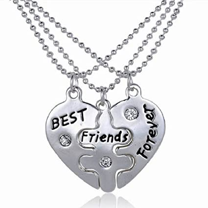 Relatively Amazon.com: RevoLity Best Friends Forever Three Part Necklace  WH86