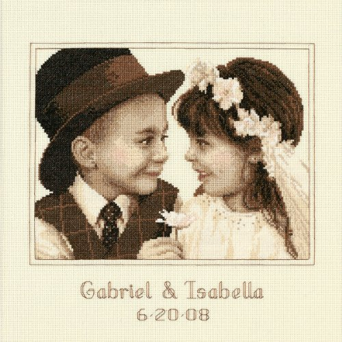 Dimensions Needlecrafts Counted Cross Stitch, First Love Wedding (Simply Stitched Embroidery Kit)