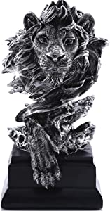 H&W Sandstone Lion Figurines - The King of Beasts - Statue Decoration for Home/Study/Living Room, Great Collectible Figurines, Best Gift for The Man, Silver Color (HH17-D3)
