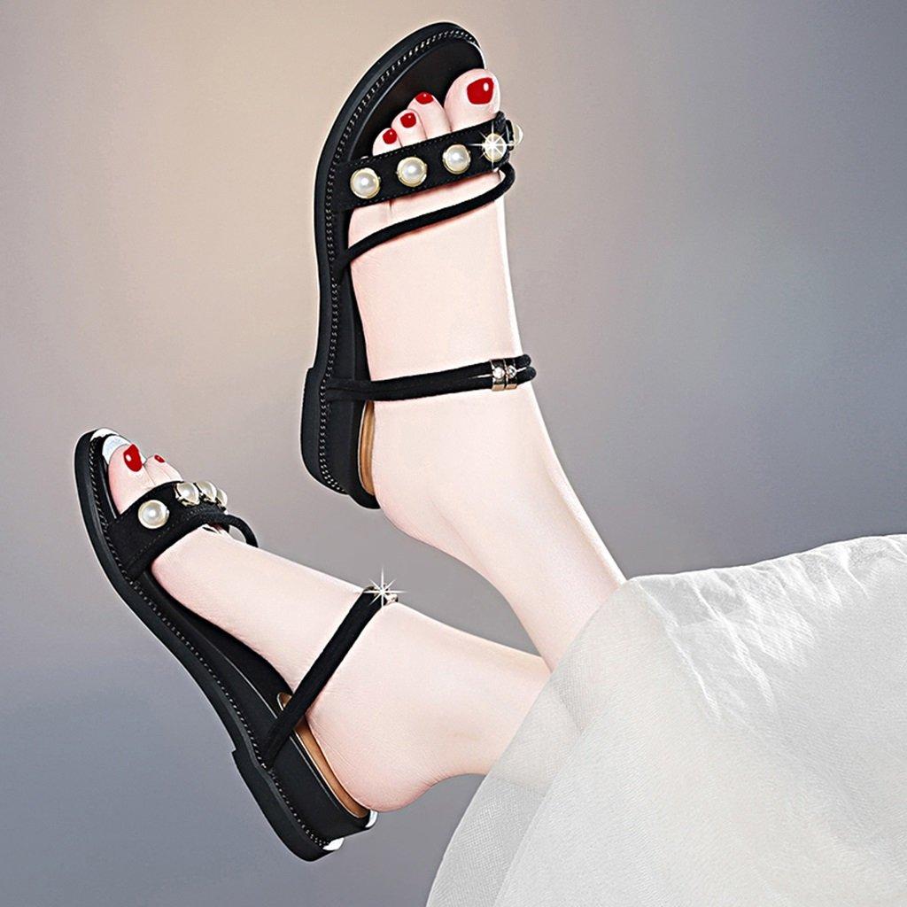Sandalen Zwei Tragen Zehe Öffnen Scrub Vamp Vamp Scrub Frau Sommer Flache Schuhe Hausschuhe Damenschuhe Schwarz 244254