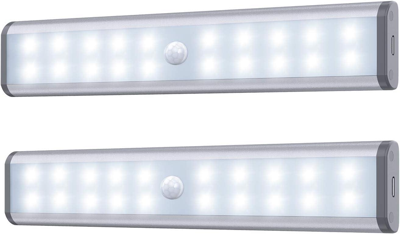 Luces de gabinete con sensor de movimiento,luces inalámbricas debajo del armario,batería recargable incorporada,iluminación nocturna magnética para colocar en cualquier lugar para armario de cocina
