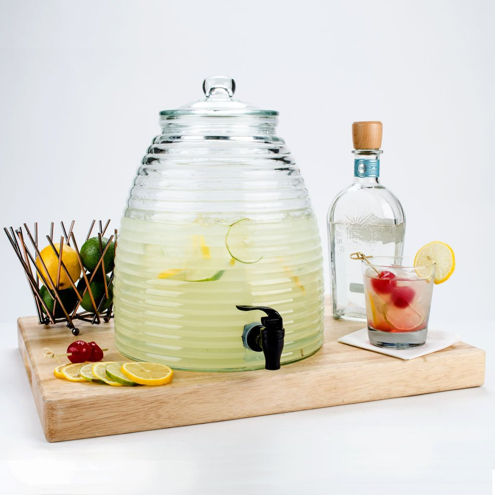 Bee Hive Style Water and Juice Dispenser. Lemonade, Iced Tea and Fruit Juice Beverage Dispenser With Spigot. Glass Beverage Dispenser, Lead-Free Glass 2.4 Gallon, 12 Inches Tall.