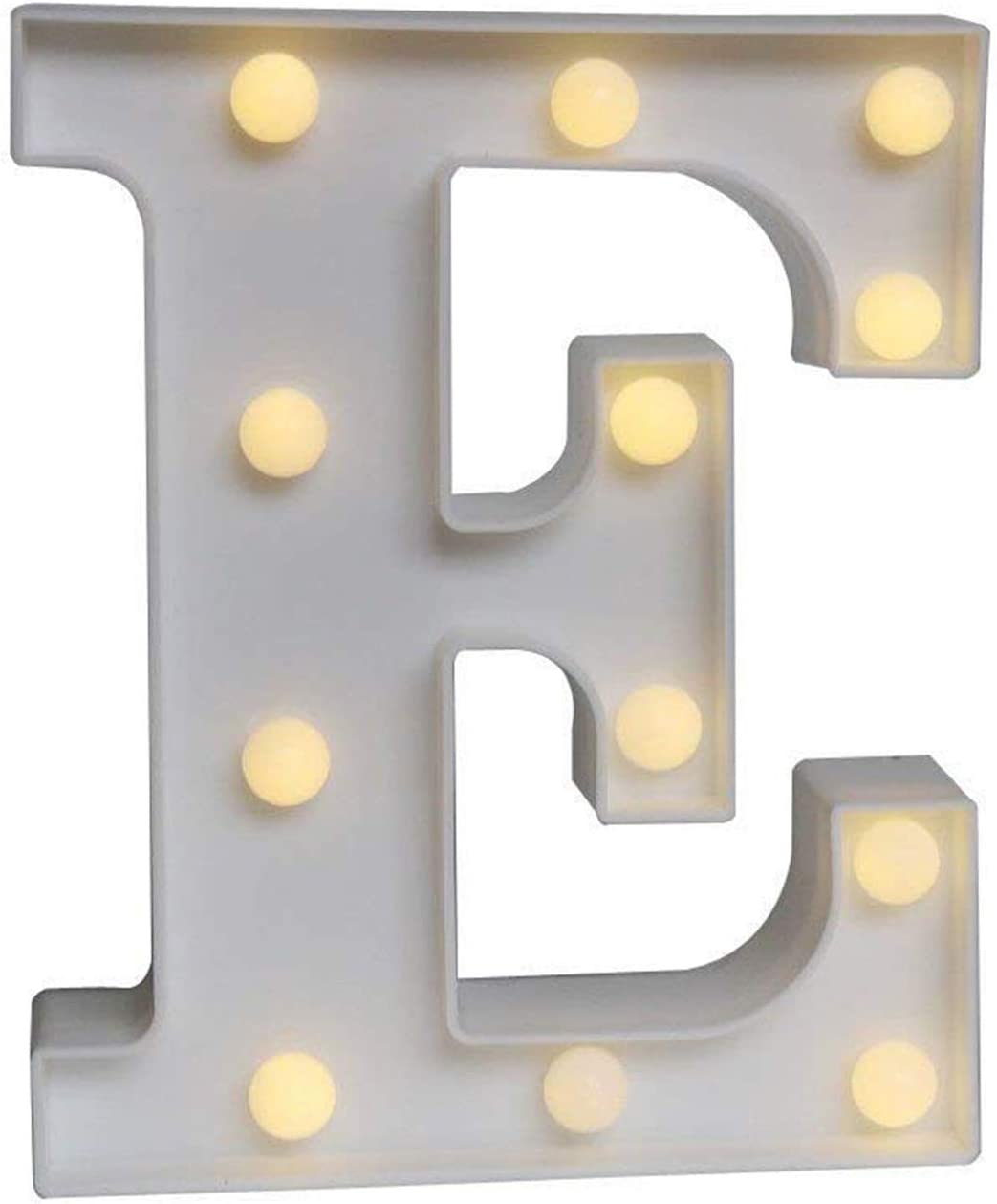 Ogrmar Decorative Led Light Up Number Letters, White Plastic Marquee Number Lights Sign Party Wedding Decor Battery Operated (E)