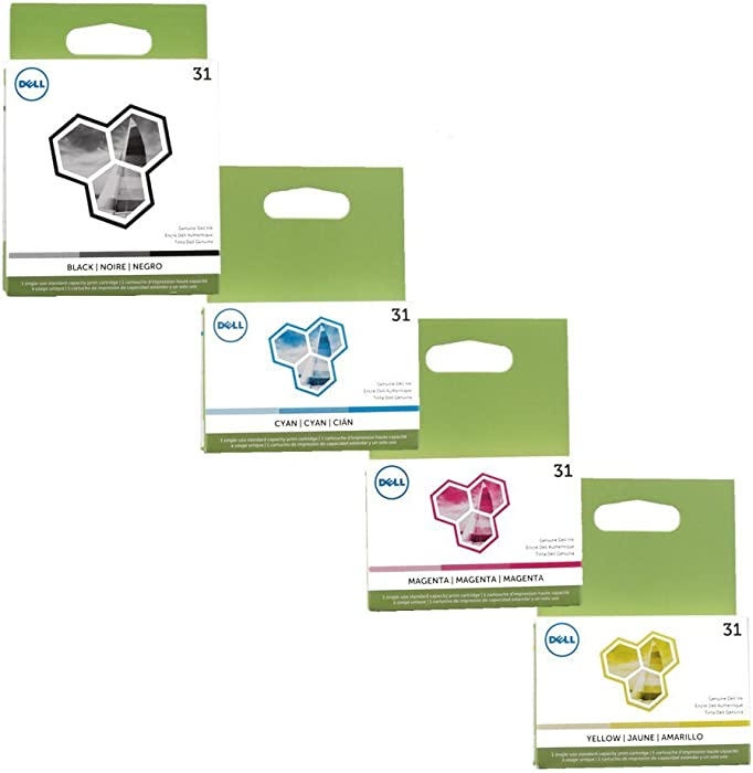 Dell Series 31 4-Color Ink Cartridge Set (Black, Cyan, Magenta, Yellow) for V525w, V725w Printers