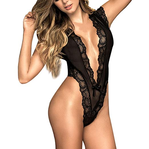 8e228cd51ede7 Amazon.com  Women Deep V Teddy Lingerie One Piece Lace Babydoll Bodysuit   Clothing