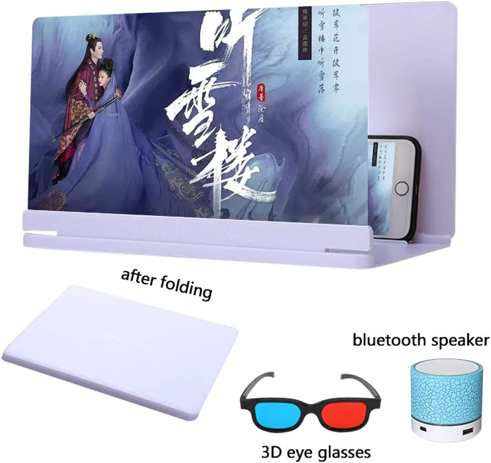 Galaxy S9 3D Screen Magnifier 3D Screen Magnifier with Bluetooth Speakers Mobile Phone Foldable Scre MobilPhone Hd Projection Bracket iPhone Xs//XR//X // 8//8 Plus // 7//7 Plus // 6S // S9 // S8