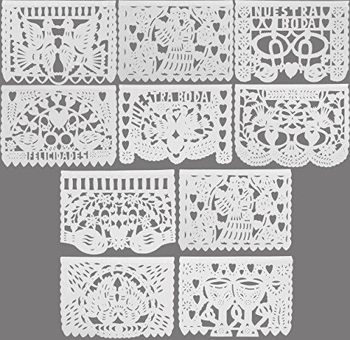 Festive Large Plastic WEDDING BODA Mexican Papel Picado Banner (15 Feet Long) Designs as Pictured by MEXIMART (Mexican Wedding Flags)