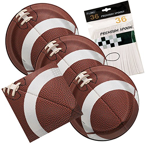 Football Party Themed Dessert Plates And Napkins includes Spoons Serves (Football Themed Party)