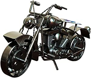 Amperer Collectible Art Sculpture Handmade Metal Motorcycle Tractor Model Creative Office Desktop Accessories Decor The Motorcycle Loves Artwork (A3 Black Large Size)
