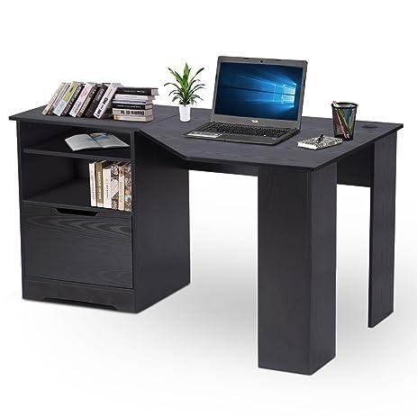 DEVAISE Wood L Shaped Corner Computer Desk For Home Office / Black