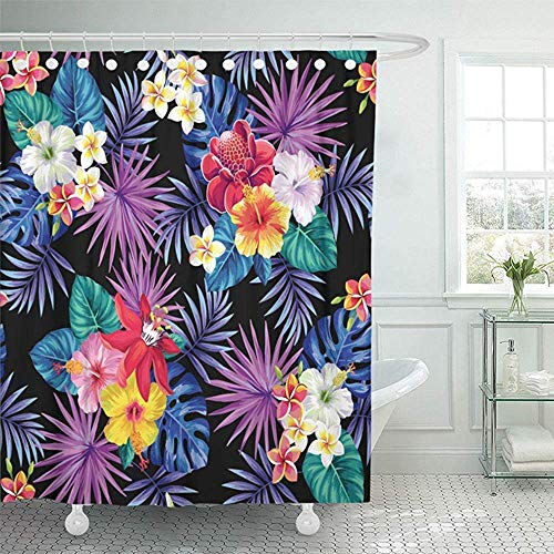 KJHDSI Shower Curtain 60X72 inch Home Decor Green Forest Tropical with Palm Leaves and Flowers Hawaii Orchid Plant Realistic Waterproof Polyester Fabric Adjustable Hook