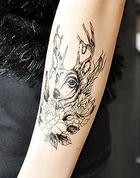 GYMNLJY Etiquetas engomadas del tatuaje Brazo de Halloween moda hombre impermeable pegatinas mujer flor pegatinas tatuaje (paquete de 2) , 150*95mm: ...