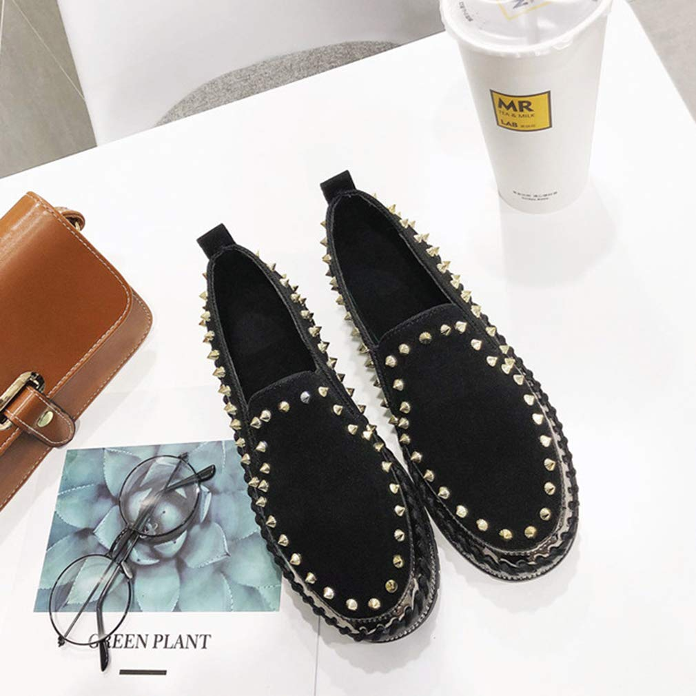 YXB Womens Rivet Shoes Rhinestone Sequined Platform Shoes Lazy Shoes Low-Top Casual Shoes Loafers /& Slip-Ons Black,Black,39