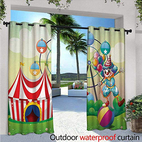 Circus Decor Indoor/Outdoor Single Panel Print Window Curtain W84 x L84 Illustration of a Clown Balancing Above an Inflatable Ball at The Carnival Silver Grommet Top Drape Multicolor (Clown Inflatable)
