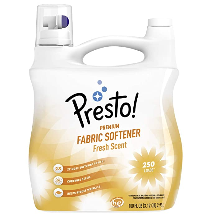 Amazon Brand - Presto! Concentrated Fabric Softener, Fresh Scent, 250 Loads, 100 Fl Oz