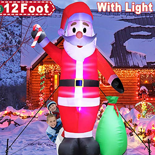 12 Foot Christmas Inflatables Santa Claus with Lights, LED Inflatable Blow-Up Outdoor Christmas Decorations LED Santa Claus with Gift Bag 2 Stakes for Indoor Outdoor Yard Lawn Art Xmas Decoration