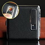 Leather Black Cigarette Box Case Holder with USB Electronic Charging Windproof Flameles Built-in Lighter holder, Gift for Father, Husband,Boyfriend and Smoker