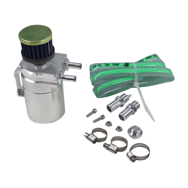 ALLOYWORKS Baffled Billet Aluminum Oil Catch Tank Can Reservoir Tank Universal ( Silver )