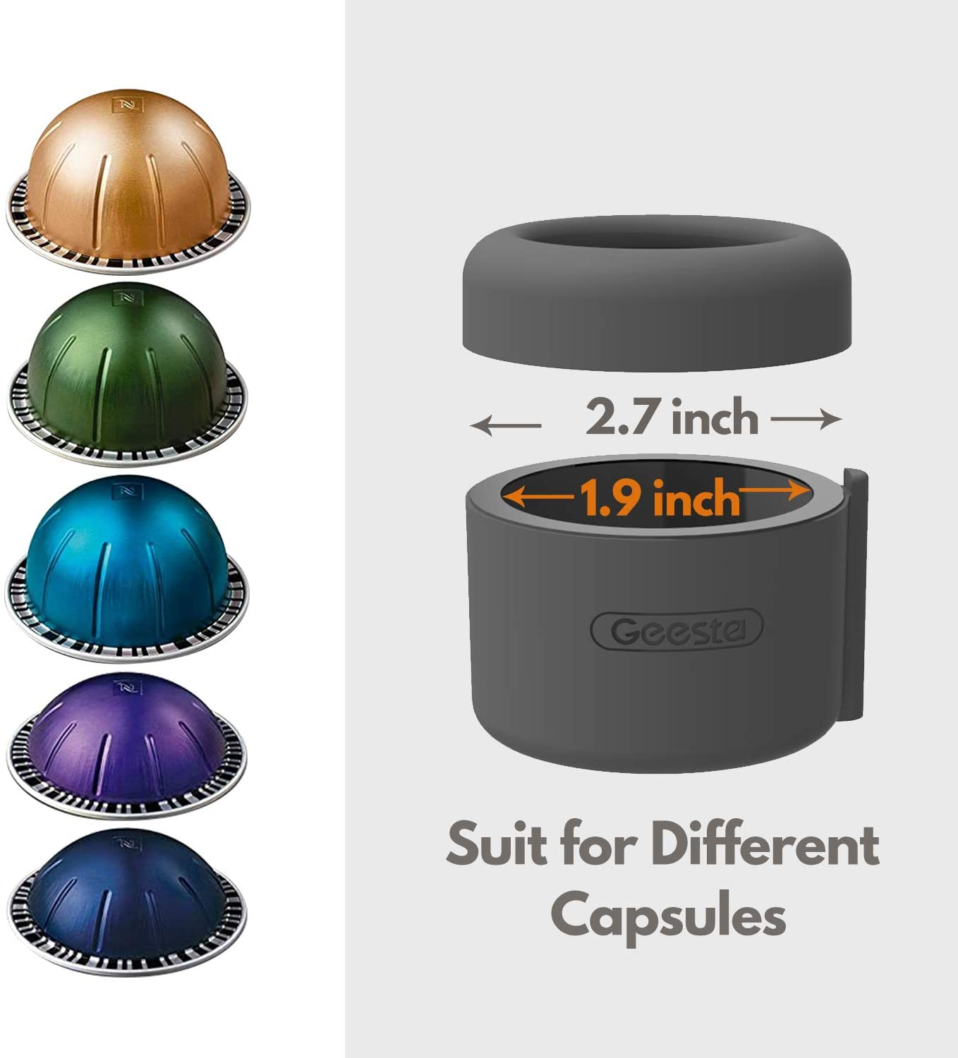 Reusable Capsule Holder and 80 Premium Foil Seals Easy-Seal Coffee Capsule Refill Kit for Nespresso Vertuoline with a Brush Scoop