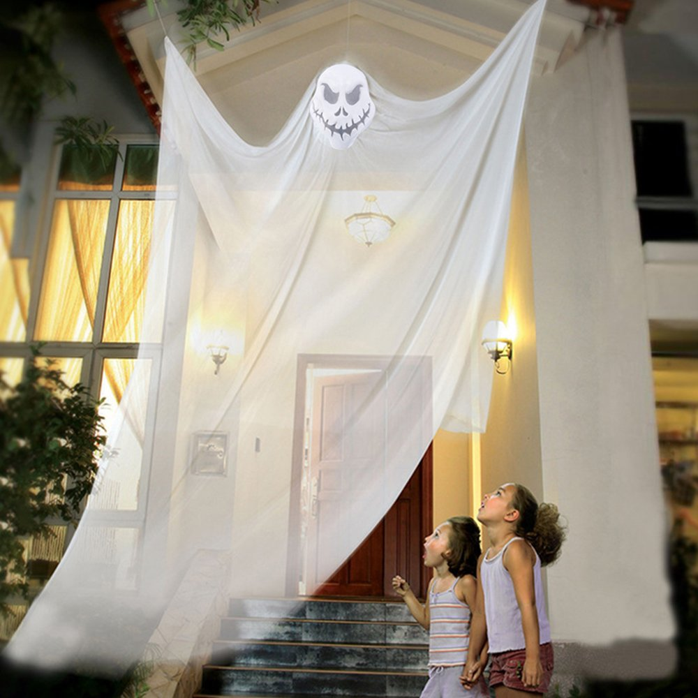 Halloween Decoration Hanging Ghost Scary Witch Curtain for Outdoor Party Room Haunted House (black) Libraoeu