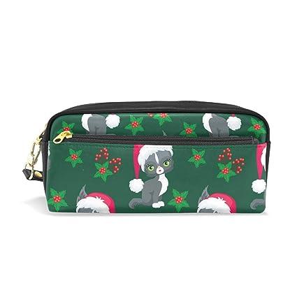 Estuche escolar para lápices con diseño de gato verde oscuro con sombrero de Navidad, bolsa de gran capacidad para maquillaje, cosméticos, oficina, bolsa de viaje: Amazon.es: Oficina y papelería