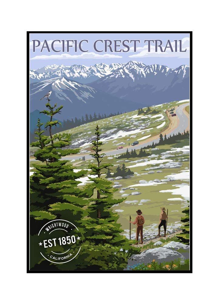 Wrightwood, California - Pacific Crest Trail and Hikers - Rubber Stamp (24x36 Framed Gallery Wrapped Stretched Canvas)