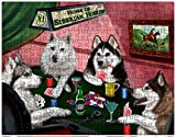 Siberian Husky Dogs Playing Poker 252 Pc. Puzzle with Photo Tin