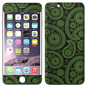 Skin Decal for Apple iPhone 6 Plus - Paisley Green Black on Black