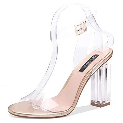 5b3a3fe5c1e Onlymaker Women's Lucite Clear Ankle Strap Adjustable Buckle Block Chunky  Perspex High Heel Transparent Dress Sandals