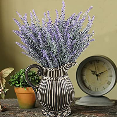 GTIDEA 4pcs Artificial Flowers Flocked Plastic Lavender Bundle Fake Plants Wedding Bridle Bouquet Indoor Outdoor Home Kitchen Office Table Centerpieces Arrangements Christmas Decor