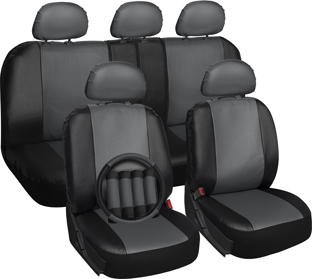 Amazon OxGord 17pc Faux Leather Gray Black Car Seat Covers Set