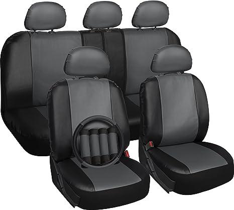 Amazon.com: OxGord 17pc Set PU Leather Car Seat Cover Set - Airbag ...