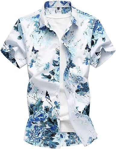 WanYangg Hombre Camisas Hawaianas Manga Corta Verano Camisa Tropical Flores Hawaiana Vintage Camisas Casuales Tropicales de Fiesta Top tee: Amazon.es: Ropa y accesorios
