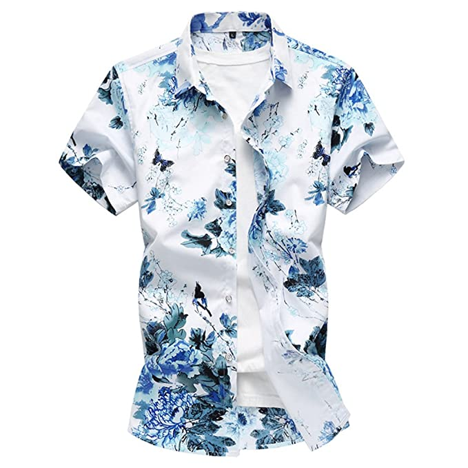 0ad351241f WanYangg Uomo Camicia Hawaiana A Fiori Manica Corta Maglietta Estate ...