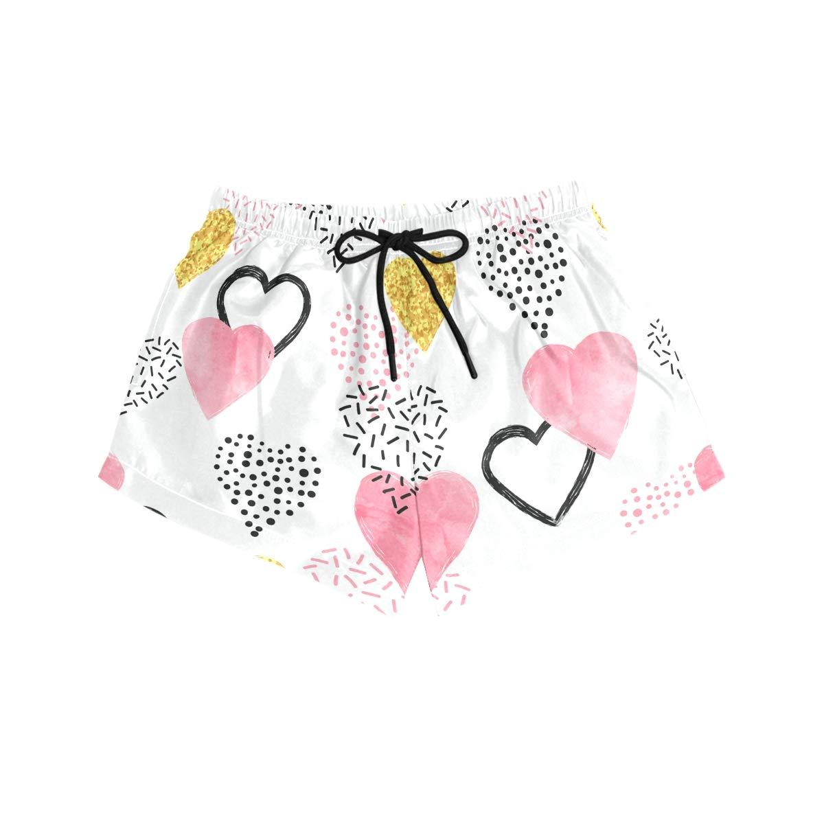 CENHOME Women Swim Trunks Glittering Gold Pink Hearts Pattern Beach Board Shorts