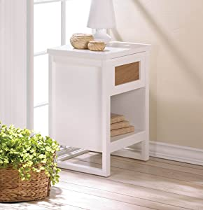"""Perfect White Side Table 26"""" Tall Pull Out Drawer Lower Shelf Wood"""
