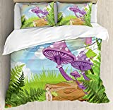 Mushroom Twin Duvet Cover Sets 4 Piece Bedding Set Bedspread with 2 Pillow Sham, Flat Sheet for Adult/Kids/Teens, Fantastic Scenery with Wood Timber Grass and Rainbow Fungus Herbs Leaves Weed Art