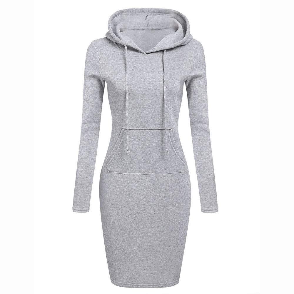 TOPUNDER Pullover Pocket Knee Length Slim Hoodie Dresses Casual Sweatshirt Dress Women Gray
