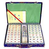 ChinaFurnitureOnline Bamboo Ma Jon Game Set with Blue Traveling Fabric Case