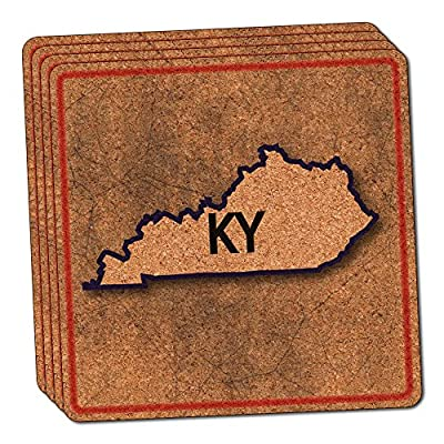 Kentucky KY State Outline on Faded Blue Thin Cork Coaster Set of 4
