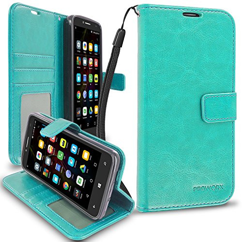 Fierce XL Wallet, PROWORX Premium Luxury PU Leather Wallet Flip Protective Case Cover with Card ID Slots & Stand Mint Green For Alcatel OneTouch Fierce XL