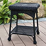 Jeco Wicker Patio End Table in Black