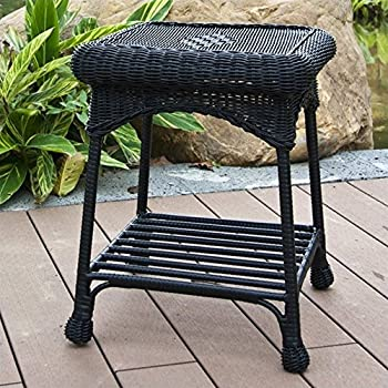 edgar outdoor black wicker side table kitchen dining. Black Bedroom Furniture Sets. Home Design Ideas