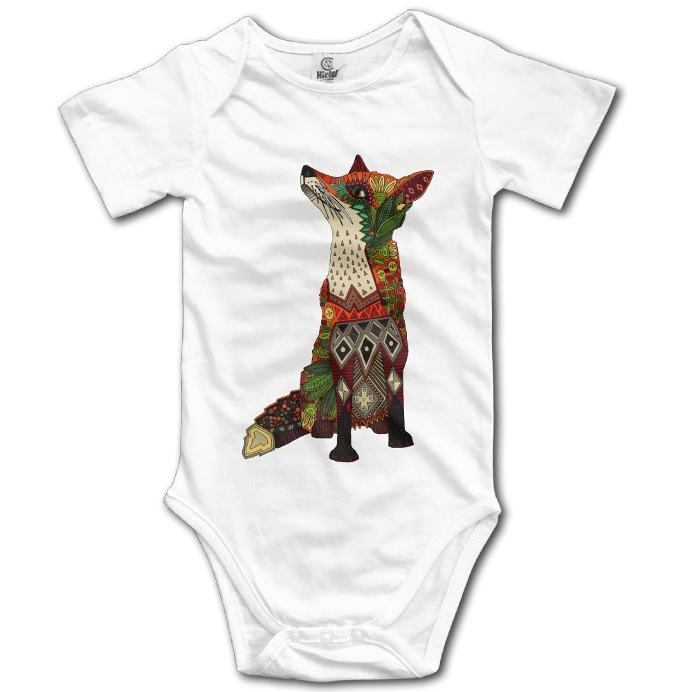 8293a09b5 Amazon.com: Floral Fox Baby Infant Bodysuit - Short Sleeve Onesie Romper  White: Clothing
