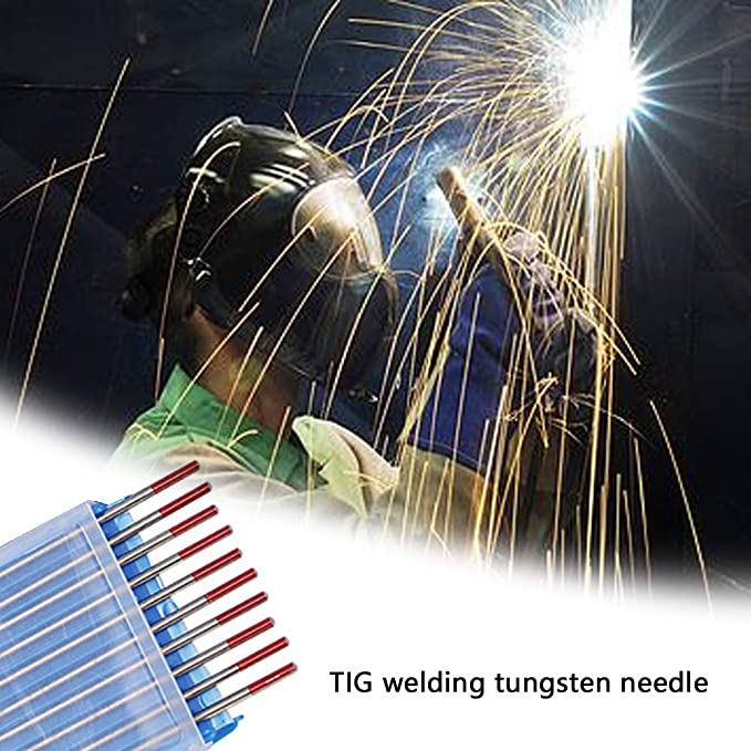 FairytaleMM 10pcs // Box WT20 Red Color 2.4 * 170 Thorium Tungsten Electrode Head Tungsten Needle//rod For Welding Machine red 2.4 * 175mm
