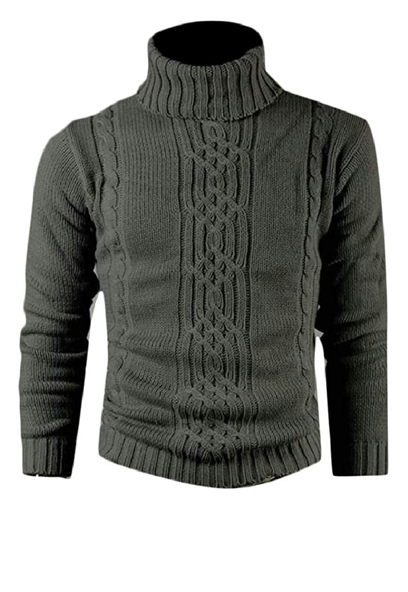 Ptyhk RG Mens Autumn Long Sleeve Cable Warm Turtleneck Sweater Jumper